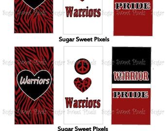 INSTANT DOWNLOAD  Warriors School Mascot Digital Rectangle Domino Size Images 4x6 sheet