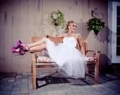 SALE Ready to Ship -  Tea Length Wedding Dress- Reception Dress - Short Wedding Dress
