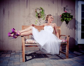 Catherine - Vintage Inspired - Tea Length Wedding Dress- Reception Dress - Short Wedding Dress