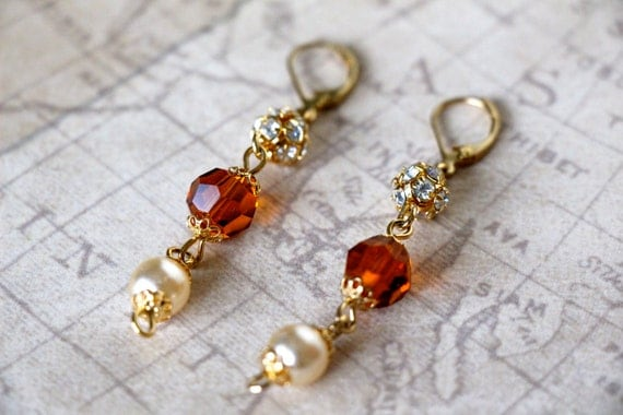 Amber, Sparkle and Pearl Beaded Dangly Earrings