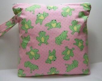 Pink Frog print, Medium Wet Bag. Heat sealed seams. Ready to Ship