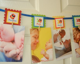 Car 12 Month Photo Banner, First Year Photo Banner, First Year Banner, Car Birthday Party,  c-1123