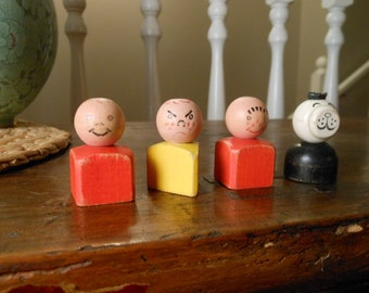 Antique Wooden Little People by Fisher Price 1960s