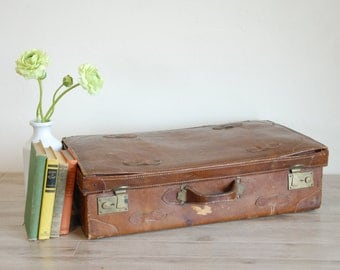 Classic Leather Vintage Travel Suitcase