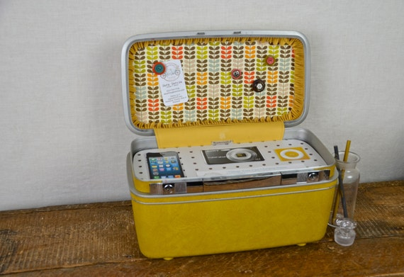 Vintage Samsonite Train Case Charging Station with Fabric Covered Cork Board