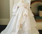 Lace and Silk Layered Ruffled Baptism / Blessing Dress with Two Tone White Roses...The Zaidee Dress