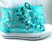 Custom Airbrushed Converse Sneakers - ANY color on WHITE High-Top Chucks. Quinceanera converse - Custom Airbrushed Converse