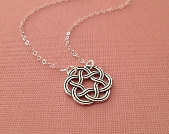 Celtic Knot Necklace in Sterling Silver -Silver Celtic Knot Necklace
