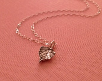 Silver Leaf Necklace -Leaf Necklace in Sterling Silver -Wine Lover Necklace