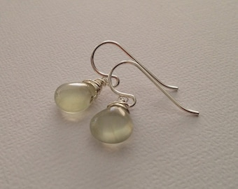 Prehnite Earrings in Sterling Silver -Silver Prehnite Earrings -Green Gemstone Earrings
