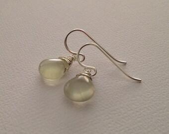 Prehnite Earrings in Sterling Silver -Green Gem Errings