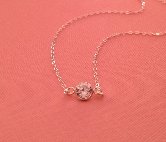 Tiny Diamond Crystal Silver Neckalce