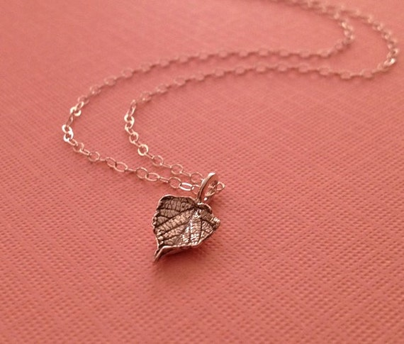Tiny Leaf Necklace in Sterling Silver -Grape Leaf Necklace -Wine Country Necklace