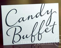 Wedding Candy Buffet Sign - Candy Bar, Dessert Station Sign - Wedding Table Reception Seating Signage - Matching Numbers Available SS03