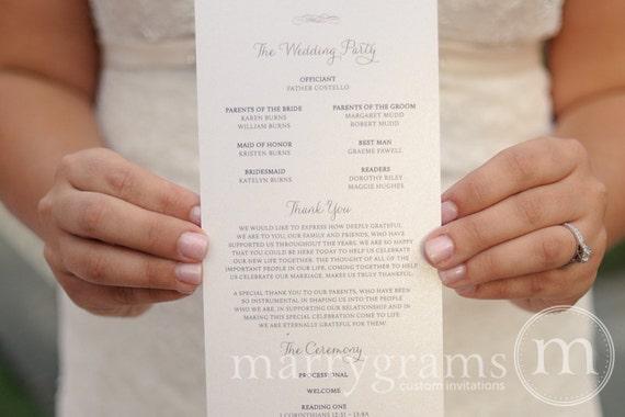Elegant Wedding Programs Single Sided Flat Programs By