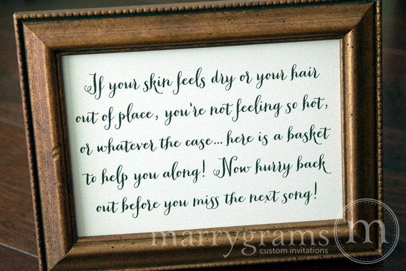 Wedding Bathroom Basket Sign Wedding Reception Signage