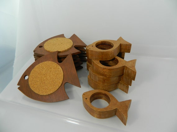 Reserved for Cathy Coasters only Mid Century Napkin Rings Set of 8 and Coasters Set of 6 Wooden Fish
