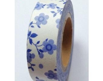 Japanese Washi Masking Tape - Blue Flower - 5.5 yards