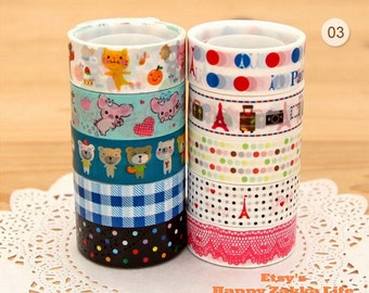 Translucent Narrow Sticker Tape Set - 03 - 5.5 yards each roll - 10 rolls