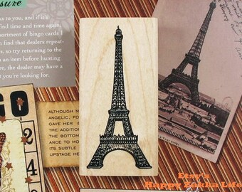 Wooden Rubber Stamp - Eiffel Tower - 1 Pcs