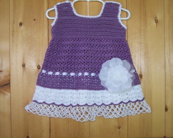 Lavender Crocheted Dress with Two Layered Mock Underskirts- child size 2 ( price reduced was 60.00 )