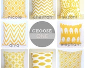 One Yellow Decorative Pillow Cover. 18x18 Cushion Cover. You Choose. Ikat. Chain Link. Suzani Chevron.