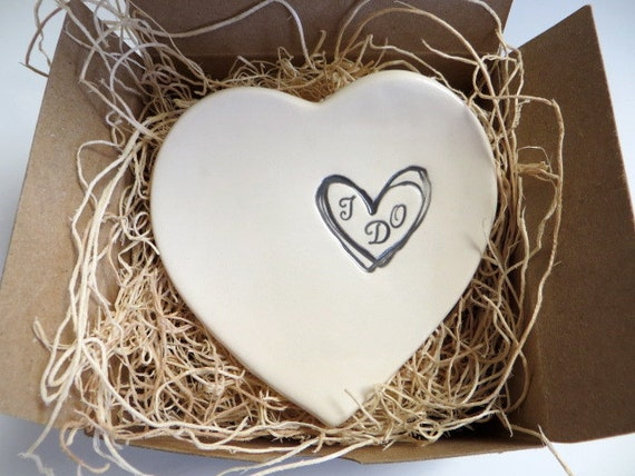 wedding ring holder,  I Do ring dish, engagement, heart dish, White and Black Handmade Pottery, Gift Boxed
