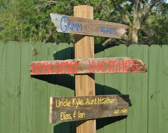 Family Distance Outdoor Yard Sign Post - Listing is for 1 Sign