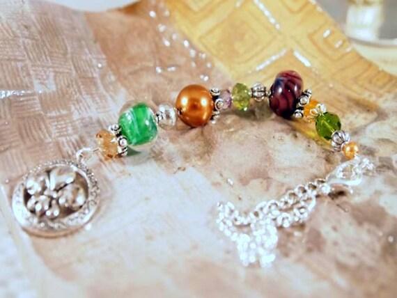 Fleur De Lis Charm, Car Charm, Glass Beads, Glass Pearls, Crystals, Beaded Car Charm. OOAK Handmade.