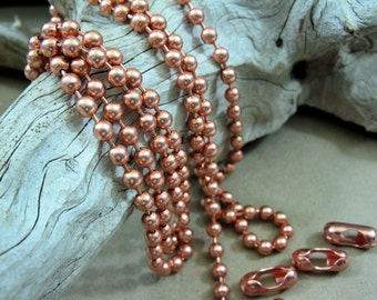 Copper Ball Chain 4.5mm Balls, 1 Ft to 20 Ft. Bulk Chain, Jewelry Chain,