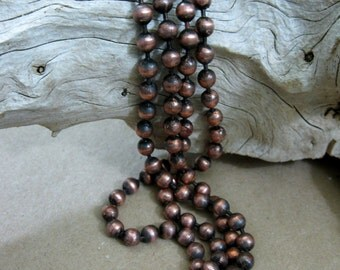 "Copper Ball Chain Oxidized 4.5mm Large Balls, Bulk Chain 6"" to 10 Ft, connectors included"