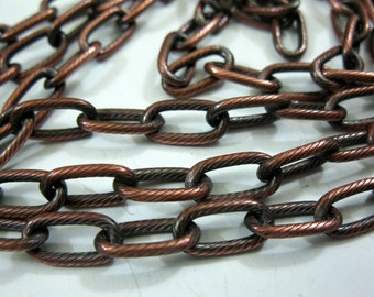 COPPER CHAIN Drawn Cable 5.82 x 11.61mm, Hand Oxidized, 6 to 36 inches