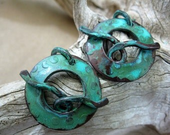 1 Copper Toggle Clasp, Handcrafted Clasp, Deep Forest Patina