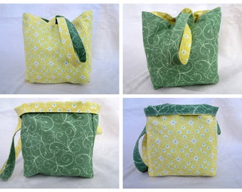 Knitting Project Bag/Crochet Project Bag (reversible wristlet), OOAK in yellow and green