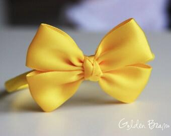 Bright Yellow Like a Butterfly Satin Bow Baby Handmade Headband - Flower Girl Headband - Baby to Adult Headband