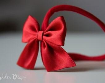 Red Satin Bow Headband - Flower Girl Headband - Satin Red Side Bow Handmade Baby to Adult Headband