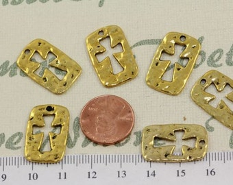 10 pcs per pack 25x10mm Hammered Cross Cut out Charm Antique Gold Lead Free Pewter
