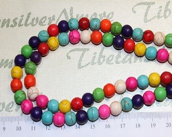 16 inches of 8mm Round Multi-color Dyed Magnesite Beads.