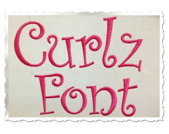 Curlz Machine Embroidery Font Monogram Alphabet - 3 Sizes