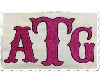 Carnival Style Machine Embroidery Font Monogram Alphabet - 3 Sizes