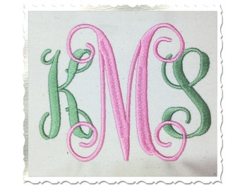 Vine Monogram Machine Embroidery Font Alphabet - 4 Inch Size ONLY