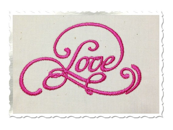 Elegant Love Machine Embroidery Word Design 5