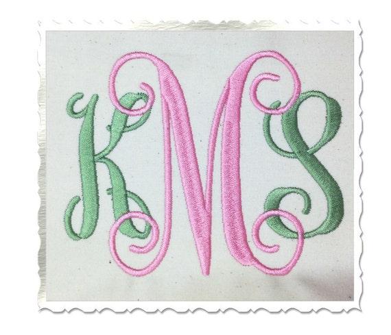 Vine monogram machine embroidery font alphabet inch size