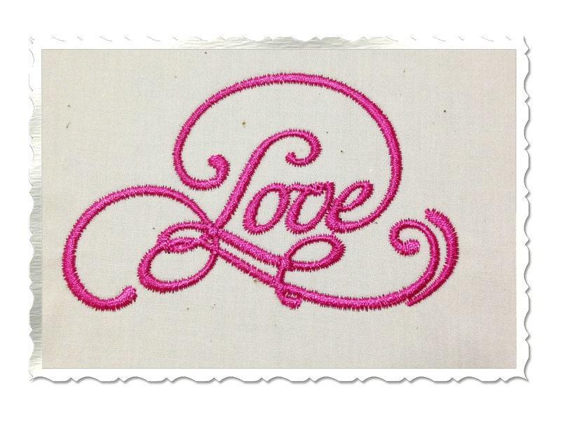 Elegant love machine embroidery word design