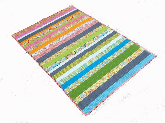 Reversible Baby Quilt, hand sewn, doublesided 2in1, baby toddler quilt - California Dreaming - (California Dreaming in French)