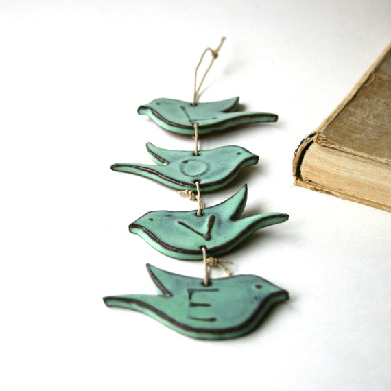 LOVE Bird Wall Hanging - Rustic Aqua Mist - Ceramic Home Decor - Ready to Ship