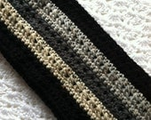 Crochet Men's Scarf in Black, Brown and Tan, Crochet Scarf, Winter Scarf, Black Scarf, Gray Scarf