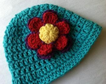 Aqua Sun Hat, Crochet Baby Hat, Newborn Hat, Baby Hat, Blue Hat,  Baby Hat, Baby Girl Hat, Summer Sun Hat