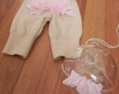 Chiffon Ruffle Bum Woolies Set - NB Sized - Ready to SHIP - Diaper cover - Wool Pants - Great Photography Prop