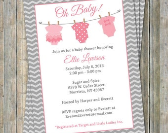 Onesie Baby shower Invitation, baby girl shower, pink and gray, Digital, Printable file